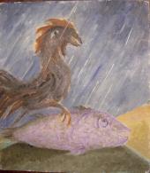 Чёрный петух на рыбе