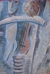 Голубая композиция с автопортретом