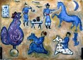 Композиция с петухом и глиняными всадниками