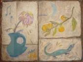 Ветка мандарина, ящерица и увядший цветок