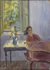 Портрет жены у рояля