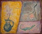 Ветка мандарина, ящерица и гладиолус