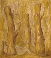 Женщина в жёлтом лесу
