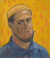 Автопортрет на оранжевом фоне