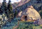 Пейзаж с большой юртой